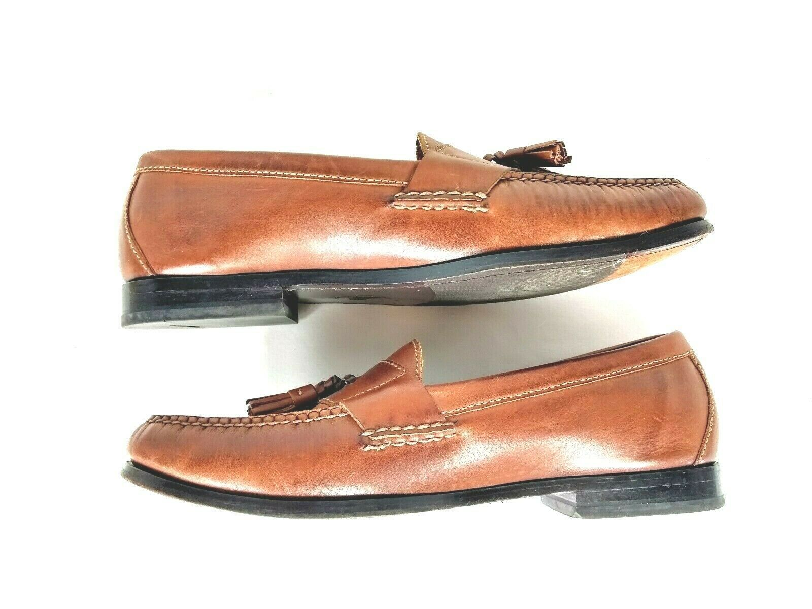 Cole Haan Men's Brown Leather Slip On Dress Pinch Tassel Loafer Sze 12 Air Sole  image 2