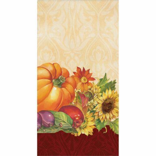 Regal Turkey 16 Guest Napkins Thanksgiving Fall Flowers Pumpkins