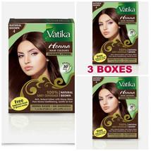 3 BOXES! Dabur Natural Brown Henna Hair Color Powder NO AMMONIA w/ Brush... - $18.00