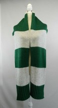 "Hand Knit Scarf SOFT Green & Lt Grey Heather Stripe 78"" x 11"" - $15.83"