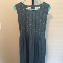 Karin Stevens Petites Size 10P Floral Pleated Denim Dress Belted - $9.69
