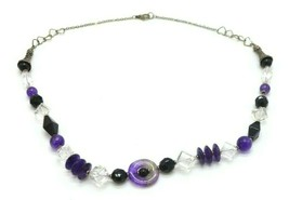 Purple Almandine Black Clear Glass Abstract Bead Beaded Silver Tone Necklace - $24.74