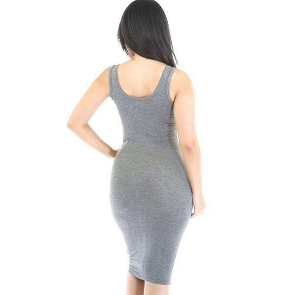 Women's Sexy Micro Fiber Bodycon Sleeveless Round Neck Gray Dress M Slimming Fit