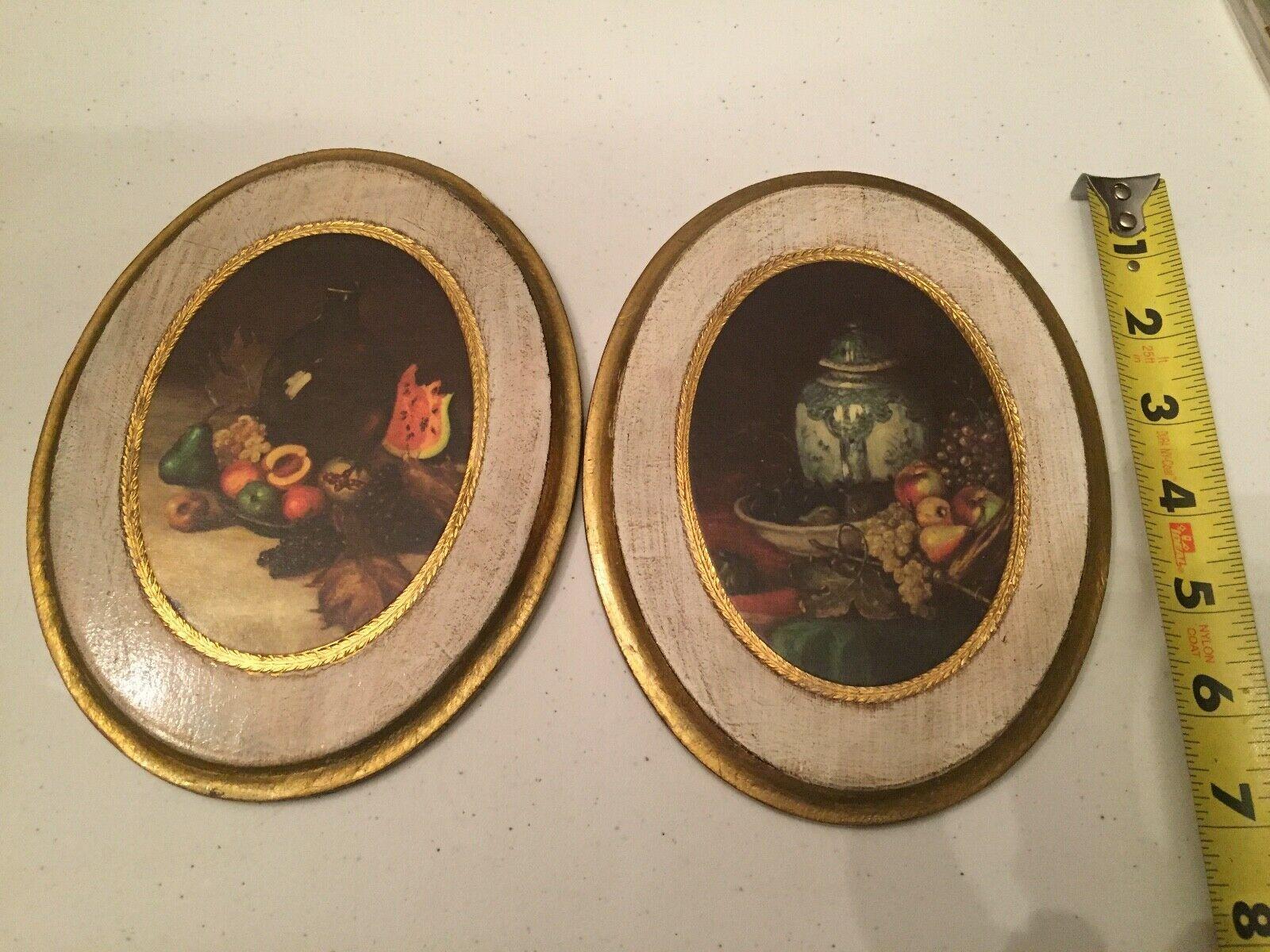 VTG Regency Gold Wall Plaque Fruit Ginger Jar Motif Made in Italy Oval Wood - $79.19