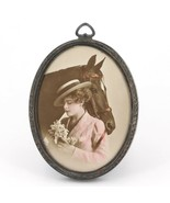 Small Antique Webster Sterling Oval Picture Frame with Postcard of Woman... - $24.95