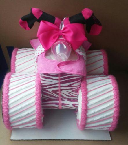 Pink and White Zebra Themed Baby Shower Decor Four Wheeler Diaper Cake Gift