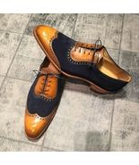 New Handmade Men Classic Brogue Style Wing Tip Leather and Suede Dress S... - $169.99