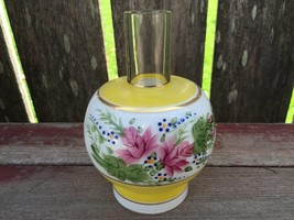 Vintage Antique Yellow Hand Painted Flowers Glass Lamp Shade Chimney 6 1... - $59.35