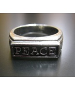 PEACE and Ichthus FISH RING in Sterling Silver - Size 6 - FREE SHIPPING - $40.00