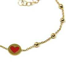 18 KT YELLOW GOLD BRACELET FOR KIDS WITH GLAZED HEART LOVE MADE IN ITALY 5.91 IN image 2