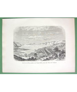 JAPAN Lake Biwa from Temple of Midera - 1882 Antique Print - $15.29