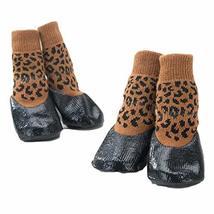PANDA SUPERSTORE 4 Pcs Leopard Print Dog Knitted Socks Pet Socks Dog Waterproof