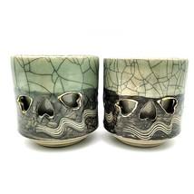 Soma Ware Somayaki Otagiri Double Wall Crackle Gold Heart Cup Mug LARGE ... - $25.88