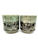 Soma Ware Somayaki Otagiri Double Wall Crackle Gold Heart Cup Mug LARGE SET OF 2 - $25.88