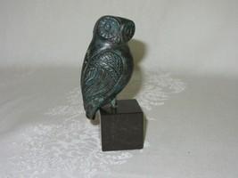Vintage Owl Bird Figurine Metal Bronze ? Copper Sculpture on Stone Base - $39.59