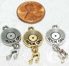 ROCK ON RECORD W/ DANGLE MUSIC NOTE FINE PEWTER PENDANT CHARM -13x28x3.5mm image 2