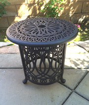 Patio end table cast aluminum Ice bucket insert round Elisabeth side furniture image 1