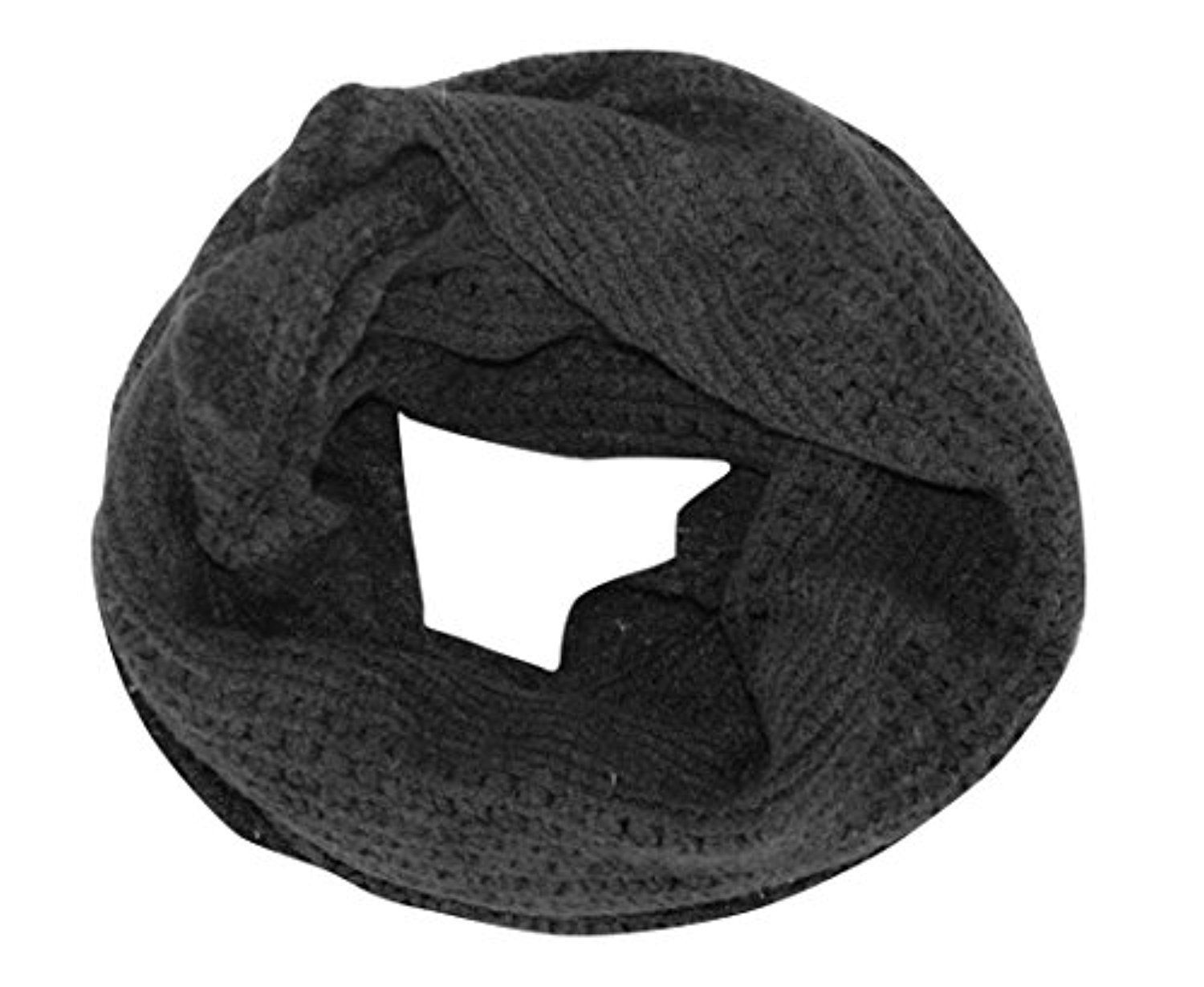 Peach Couture Glamorous Chic Warm Knitted Winter Snood Infinity Loop Scarf (Blac