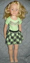 "UNEEDA Girl Doll sleepy blue eyes 26"" in green printed black checkered dress - $27.34"