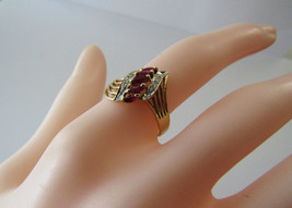 Solid 14K 14KT Yellow Gold Genuine Ruby Natural Diamond Size 6.25 Ring 2... - $123.75