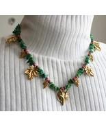 Judy Strobel Elegant Malachite Fox & Grapes Necklace - $49.95