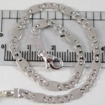 Bracelet En Or Blanc 750 18K, Jersey Ovale Et Rolo Alternate, 20.5 Cm - $486.74