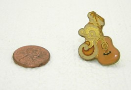 Vintage Late 1970's Early 1980's Acoustic Guitar Enamel Scatter Hat Lapel Pin - $7.92
