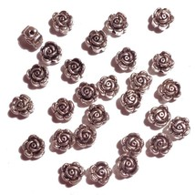 Silver Tone-Flower-Flat Beads ROSE Jewelry Making, 6 x 4mm, 300 pc - $7.76