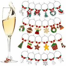 24 Pieces Wine Glass Charms Cute Wine Glass Tags Christmas Themed Wine G... - $20.19