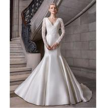 Simple Satin Lace Luxury Princess Mermaid Bridal Gown New Arrival image 1