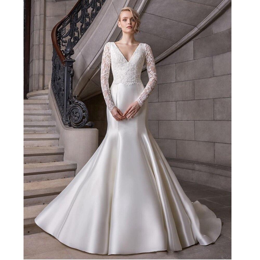 Ple satin vestido de noiva boho mermaid bride wedding dress luxyry lace 2020 new arrivals bridal