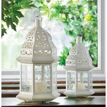 Moroccan Style Candle Lanterns Lacy White w/ Ivy Vine Design 1 Large & 1... - $37.57