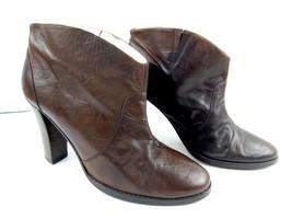 Daniblack Anthropologie Women 9M High Block Heel Brown Ankle Boots Booti... - $44.37
