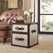 Brown Genuine Leather Accent Chair w/End Table Set Acme Furniture 96677 ... - $1,950.00