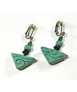 Tribal Earrings - Dangle - Dark Sage Green - Terracotta Clay - Clip On - $6.50