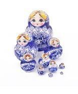 Russian Nesting Dolls 10pcs Set Blue Hand Paint... - $14.64