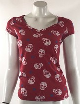 No Boundaries Womens Top Size Small Red Blue White Skull Print Fitted Te... - $9.89