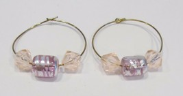 gold hoop earrings with pink and silver beads   - $9.00