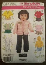 "Simplicity 18"" Doll Clothes Sewing Pattern American Girl Pants Skirt Pon... - $10.95"
