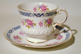 Rosina Fine Bone China England Tea Cup Saucer Set Gold Trim Roses Blue - $14.85