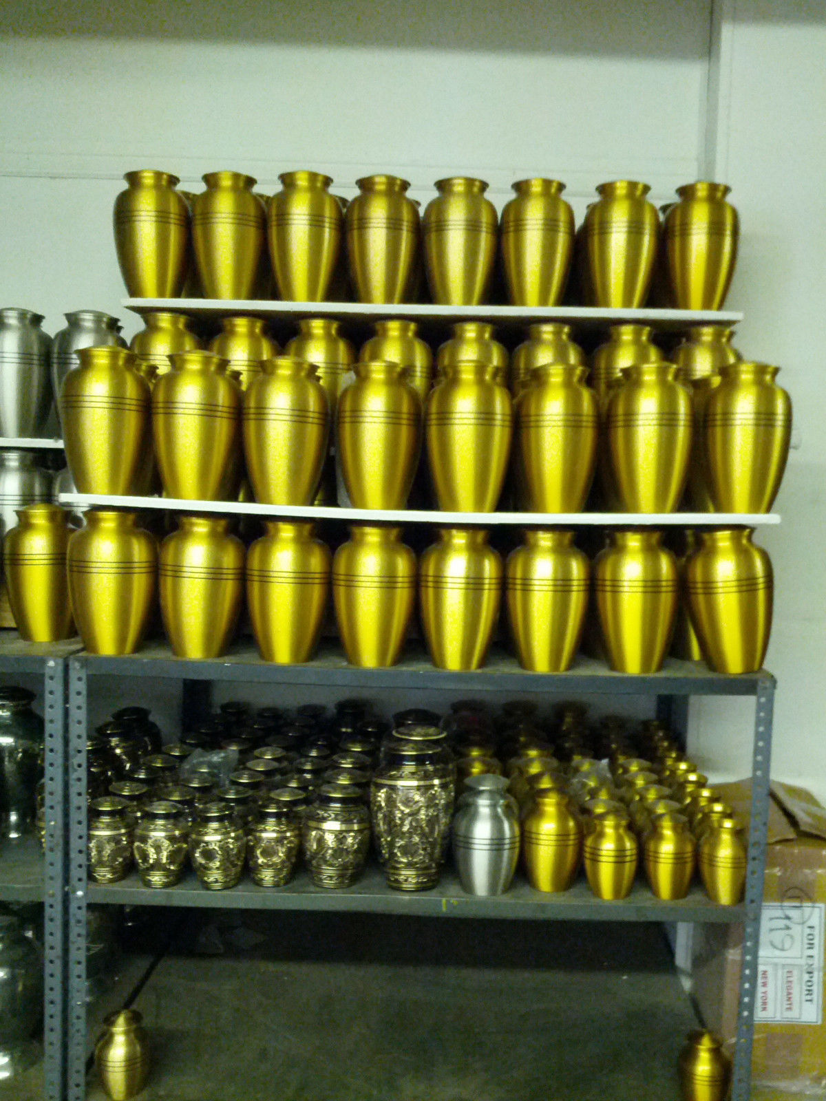 Adult Gold Colored, Brass Funeral Cremation Urn w. Box, Assorted Sizes Available image 8