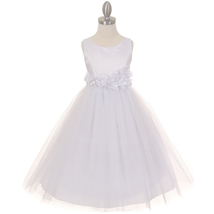 White Satin Bodice Layers Tulle Skirt White Petals Ribbon Sash Flower Gi... - $42.99+