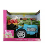 Barbie Sweet Orchard Farm Blue Tractor and Wagon with 2 Animals and Frui... - $16.82