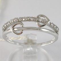 Ring aus Weißgold 750 18K, Verlobt Doppel Herz Mit Zirkonia, Made IN Italien image 1