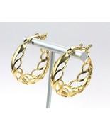 Vintage Signed Trifari Gold Tone Open Work Clip On Hoop Earrings - €13,19 EUR