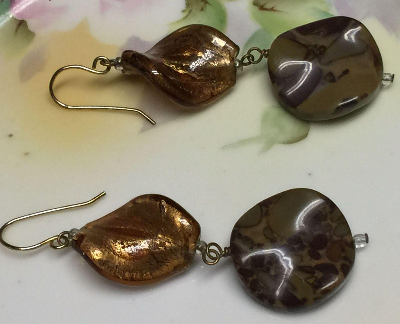 VTG Gold Metallic Brown Marble Look Plastic Beads Long Dangling Pierced Earrings image 3