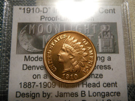 Daniel Carr 1910-D INDIAN HEAD CENT PROOF LIKE FINISH HIGH GRADE OVERSTRIKE - $145.00