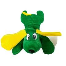 "Six Flags Texas Green Yellow Dog Puppy Plush Stuffed Animal 9.5"" - $14.54"