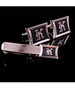 Monogrammed cufflinks / letter Script K set / Vintage silver Initial cuf... - $145.00