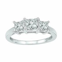10kt White Gold Princess Lab-Created White Sapphire 3-stone Ring 2.00 Ctw - £135.76 GBP